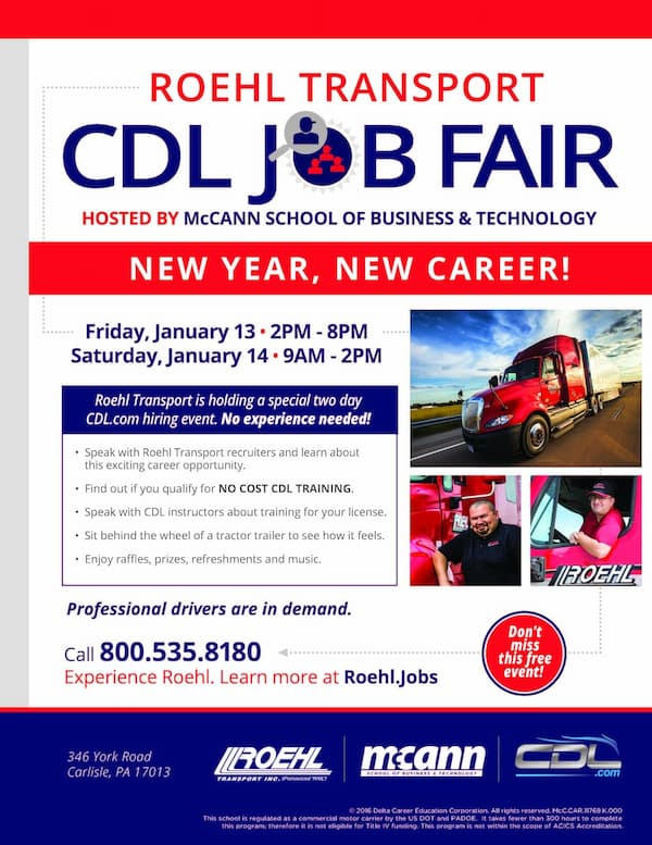 Roehl Transport CDL Job Fair Hosted by McCann School of Business and Technology Teaser