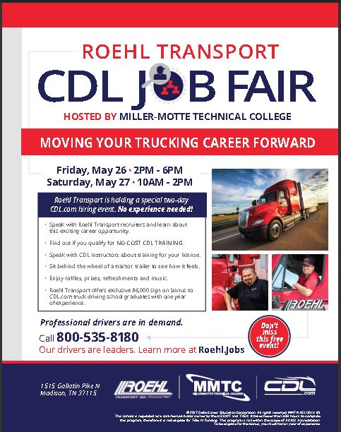 Roehl Transport CDL Job Fair Hosted by Miller-Motte Technical College in Madison, TN Teaser