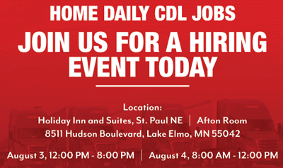 Home Daily Trucking Jobs & Paid CDL Training Hiring Event | St. Paul, MN Area Teaser