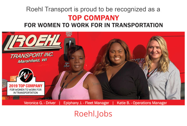 Roehl is a Top Company for Women to Work for in Transportation