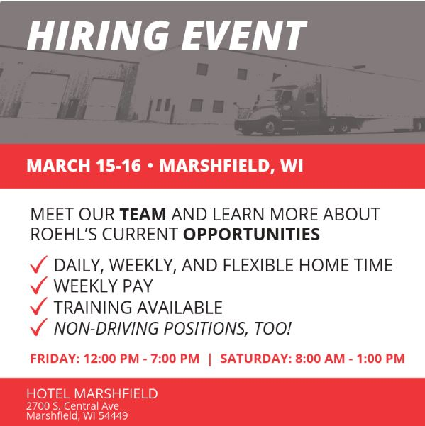 Local Marshfield Wisconsin Truck Driving Jobs Hiring Event