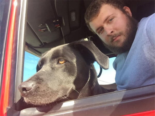 Roehl driver and his dog